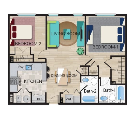2 Bedroom, 2 Bathroom - Furnished $1910.00 - $2215.00