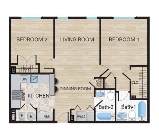 2 Bedroom, 2 Bathroom $1910.00 - $2215.00